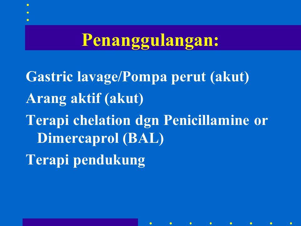 Penanggulangan: Gastric lavage/Pompa perut (akut) Arang aktif (akut) Terapi chelation dgn Penicillamine or Dimercaprol (BAL) Terapi pendukung