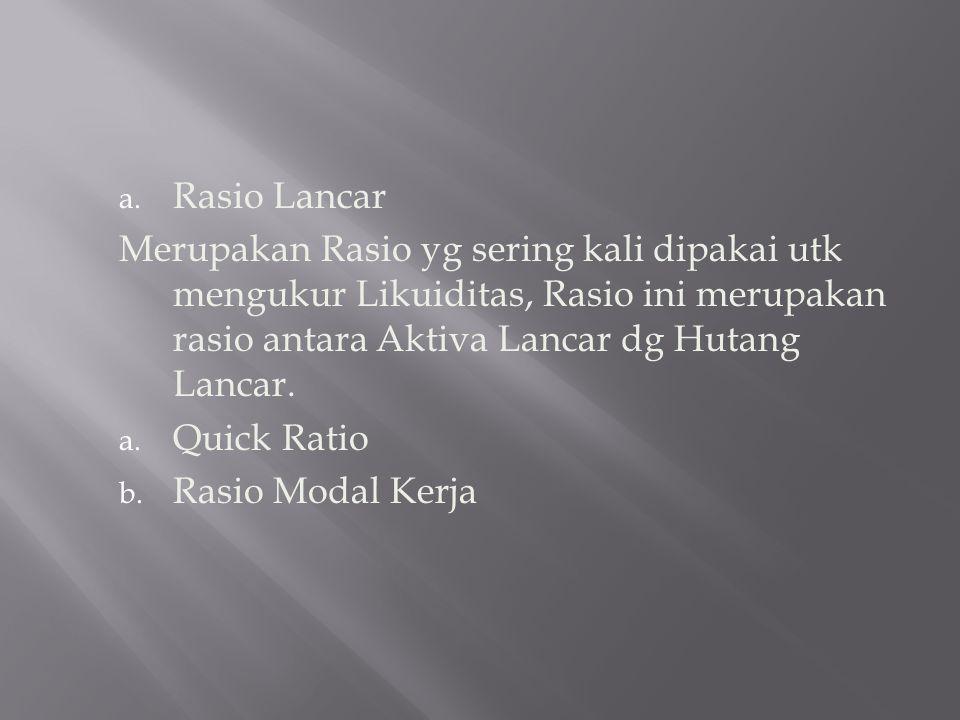 a. Rasio Lancar Merupakan Rasio yg sering kali dipakai utk mengukur Likuiditas, Rasio ini merupakan rasio antara Aktiva Lancar dg Hutang Lancar. a. Qu