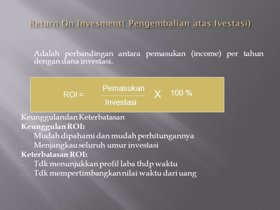 Adalah perbandingan antara pemasukan (income) per tahun dengan dana investasi. Keunggulandan Keterbatasan Keunggulan ROI: - Mudah dipahami dan mudah p