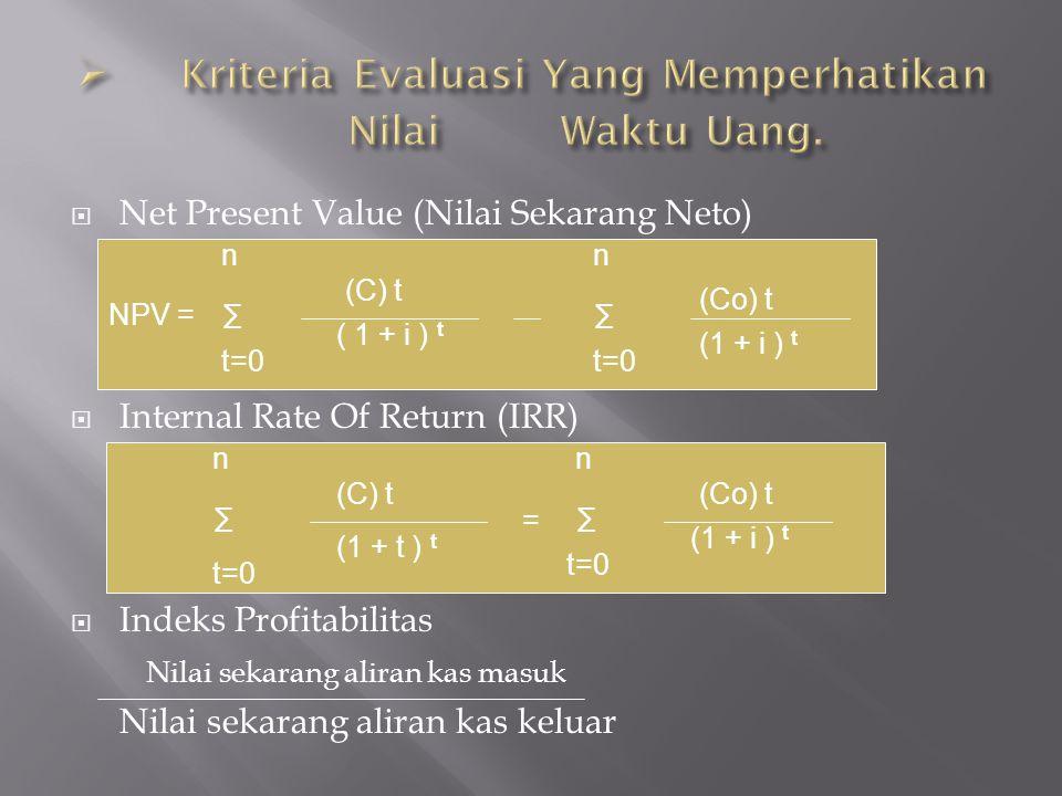  Net Present Value (Nilai Sekarang Neto)  Internal Rate Of Return (IRR)  Indeks Profitabilitas Nilai sekarang aliran kas masuk Nilai sekarang alira