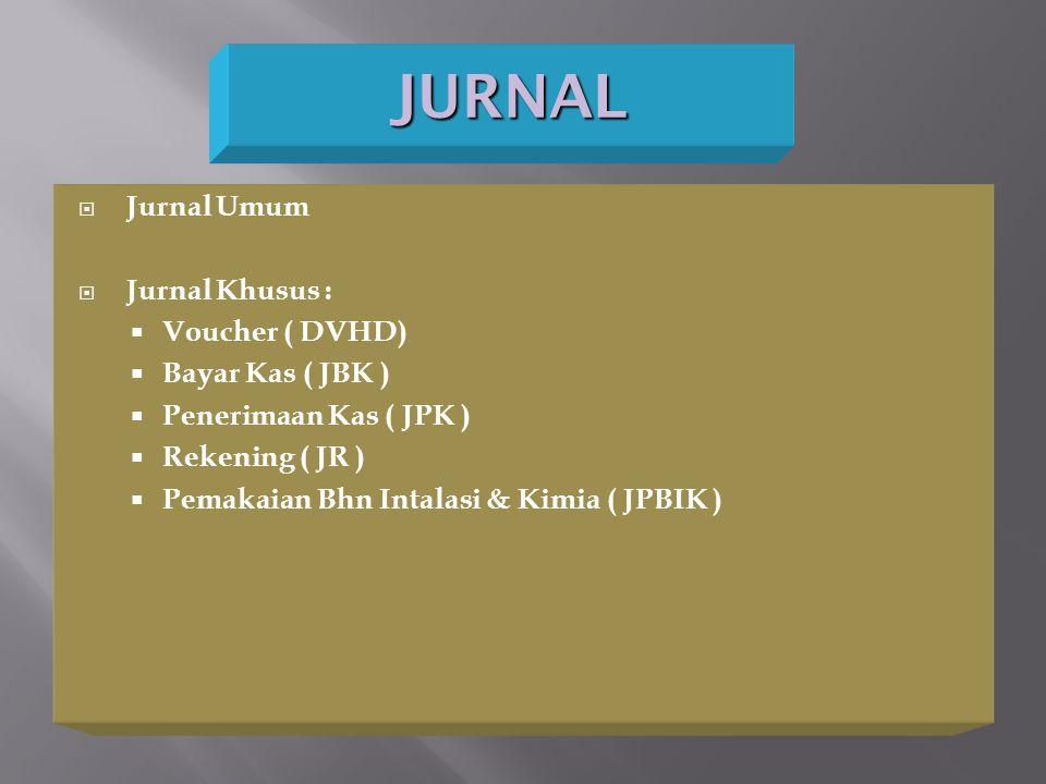 JURNAL  Jurnal Umum  Jurnal Khusus :  Voucher ( DVHD)  Bayar Kas ( JBK )  Penerimaan Kas ( JPK )  Rekening ( JR )  Pemakaian Bhn Intalasi & Kim