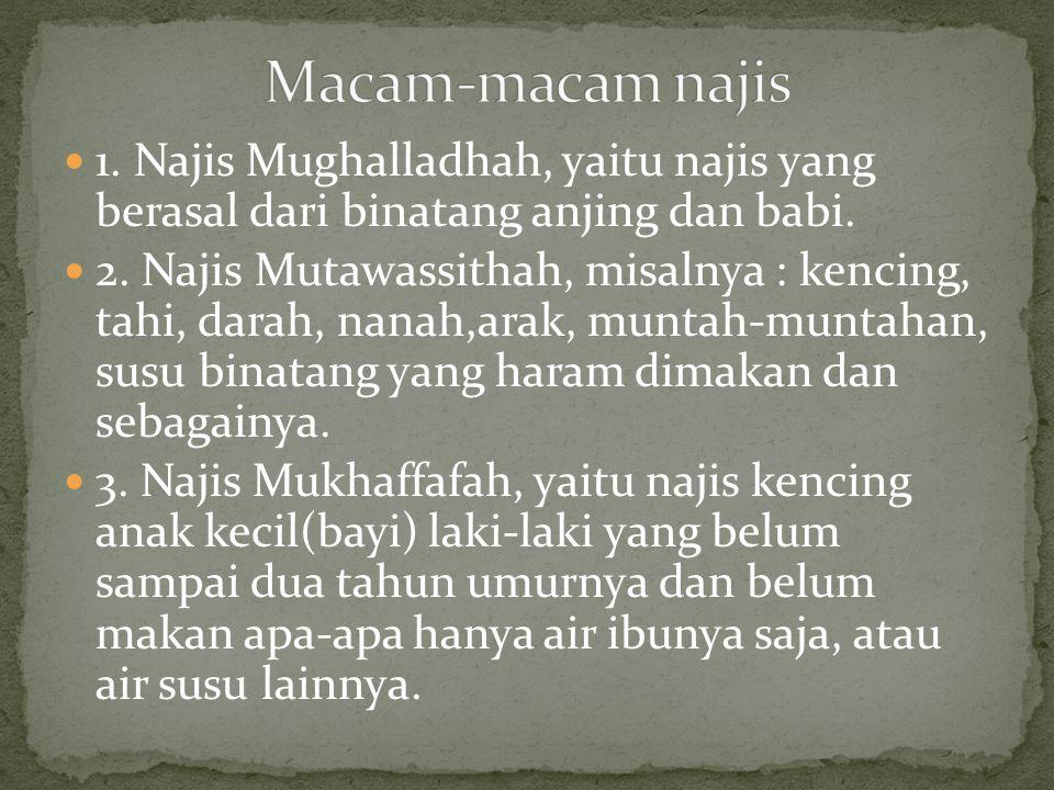  1. Najis Mughalladhah, yaitu najis yang berasal dari binatang anjing dan babi.  2. Najis Mutawassithah, misalnya : kencing, tahi, darah, nanah,arak