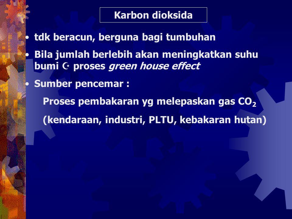 Pengaruh konsentrasi CO thd kesehatan [ CO) Diudara (ppm) [COHb] Dlm darah (%) Gangguan 3 5 10 20 40 60 80 100 0,98 1,3 2,1 3,7 6,9 10,1 13,3 16,5 Tdk