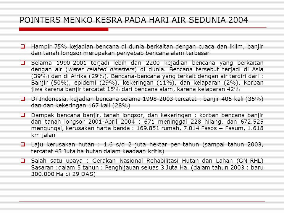 POINTERS MENKO KESRA PADA HARI AIR SEDUNIA 2004  Hampir 75% kejadian bencana di dunia berkaitan dengan cuaca dan iklim, banjir dan tanah longsor meru