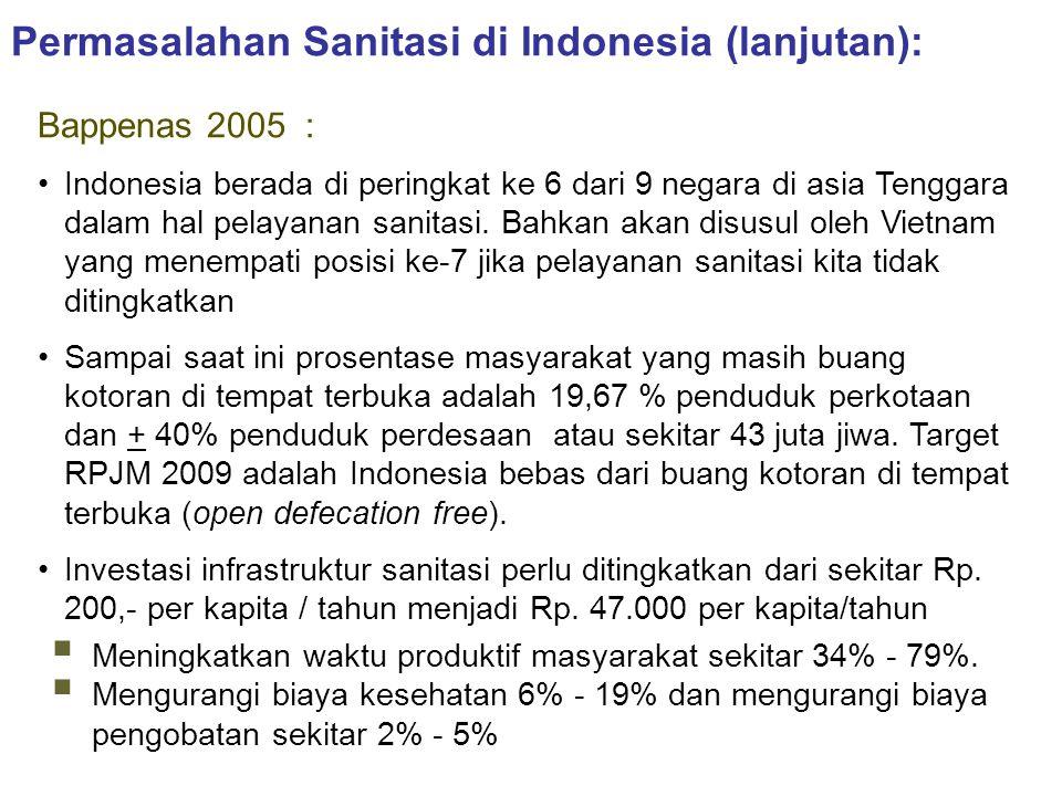 Permasalahan Sanitasi di Indonesia (lanjutan): Bappenas 2005 : •Indonesia berada di peringkat ke 6 dari 9 negara di asia Tenggara dalam hal pelayanan
