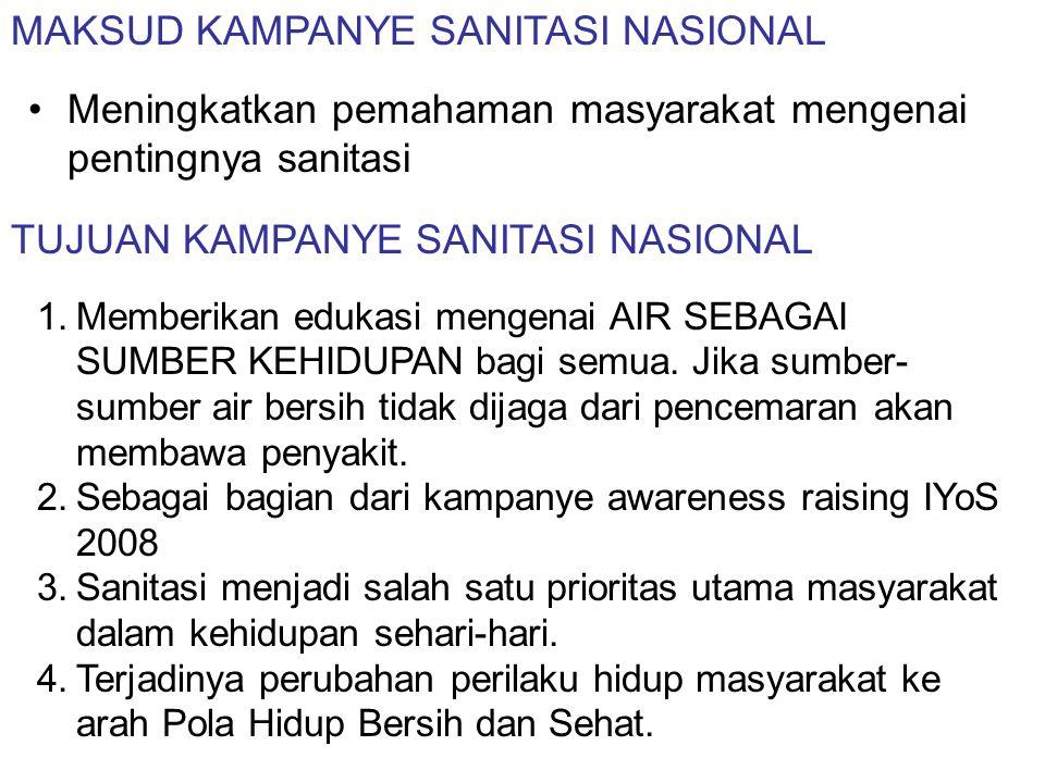 MAKSUD KAMPANYE SANITASI NASIONAL •Meningkatkan pemahaman masyarakat mengenai pentingnya sanitasi TUJUAN KAMPANYE SANITASI NASIONAL 1.Memberikan eduka