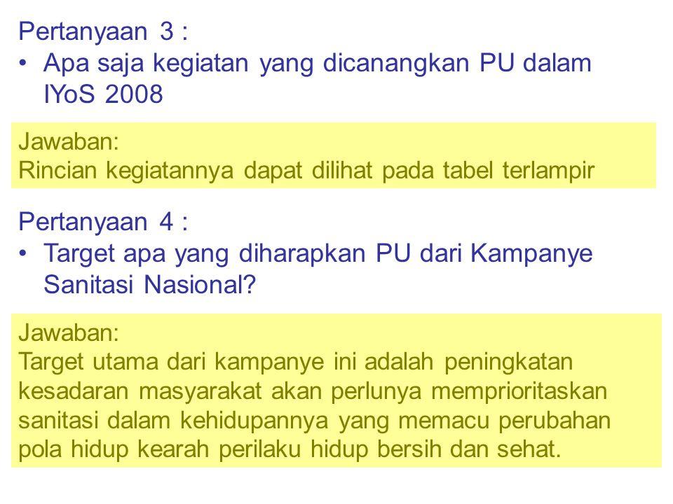 Pertanyaan 3 : •Apa saja kegiatan yang dicanangkan PU dalam IYoS 2008 Jawaban: Rincian kegiatannya dapat dilihat pada tabel terlampir Pertanyaan 4 : •