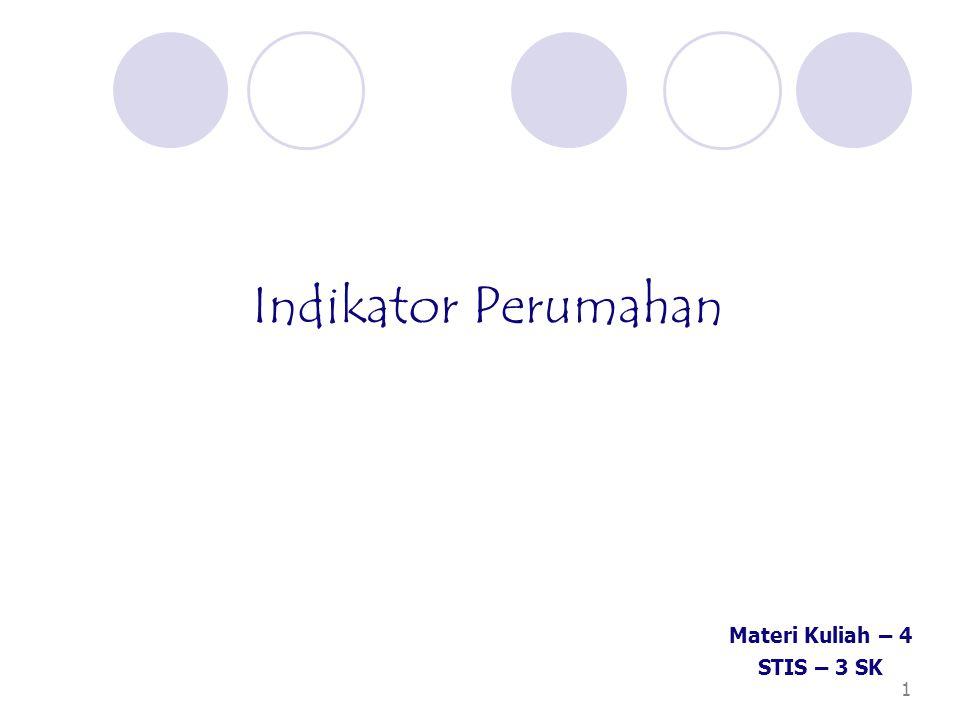 1 Indikator Perumahan Materi Kuliah – 4 STIS – 3 SK