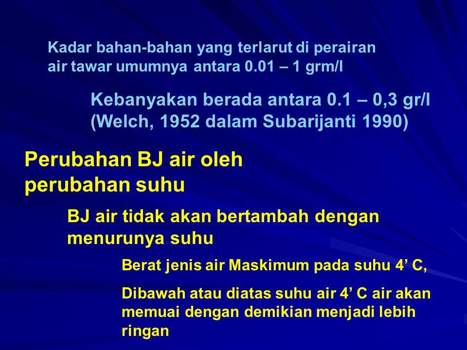 Kadar bahan-bahan yang terlarut di perairan air tawar umumnya antara 0.01 – 1 grm/l Kebanyakan berada antara 0.1 – 0,3 gr/l (Welch, 1952 dalam Subarij