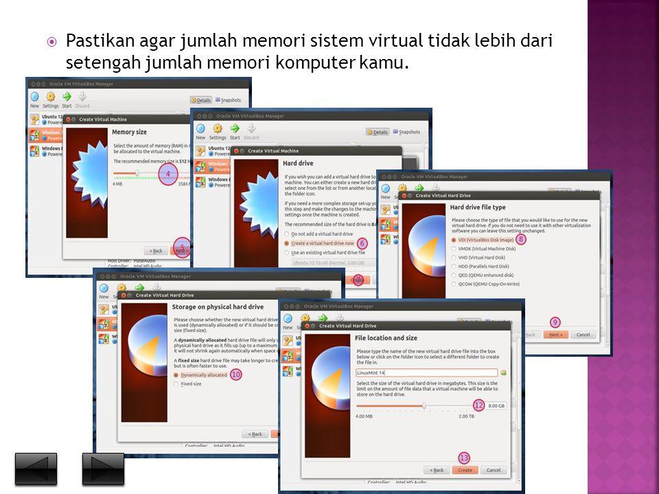  Pastikan agar jumlah memori sistem virtual tidak lebih dari setengah jumlah memori komputer kamu.