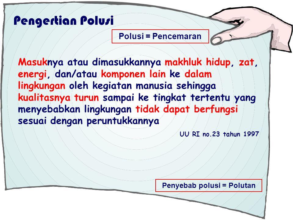 Pengertian Polusi Polusi = Pencemaran Masuknya atau dimasukkannya makhluk hidup, zat, energi, dan/atau komponen lain ke dalam lingkungan oleh kegiatan