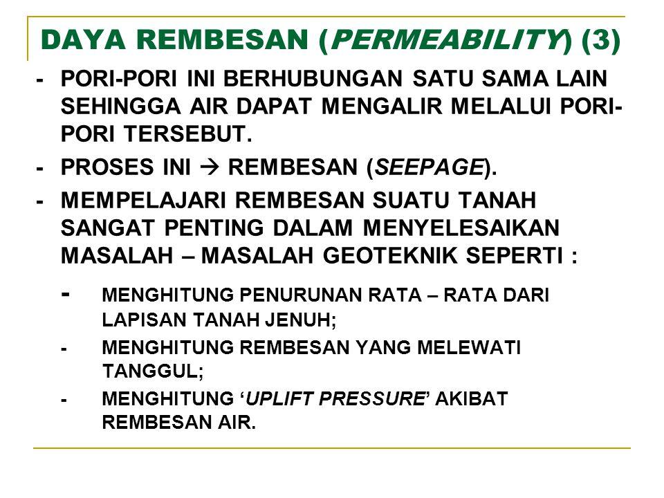 DAYA REMBESAN (PERMEABILITY) (4) -REMBESAN AIR DI DALAM TANAH HAMPIR SELALU LINEAR.
