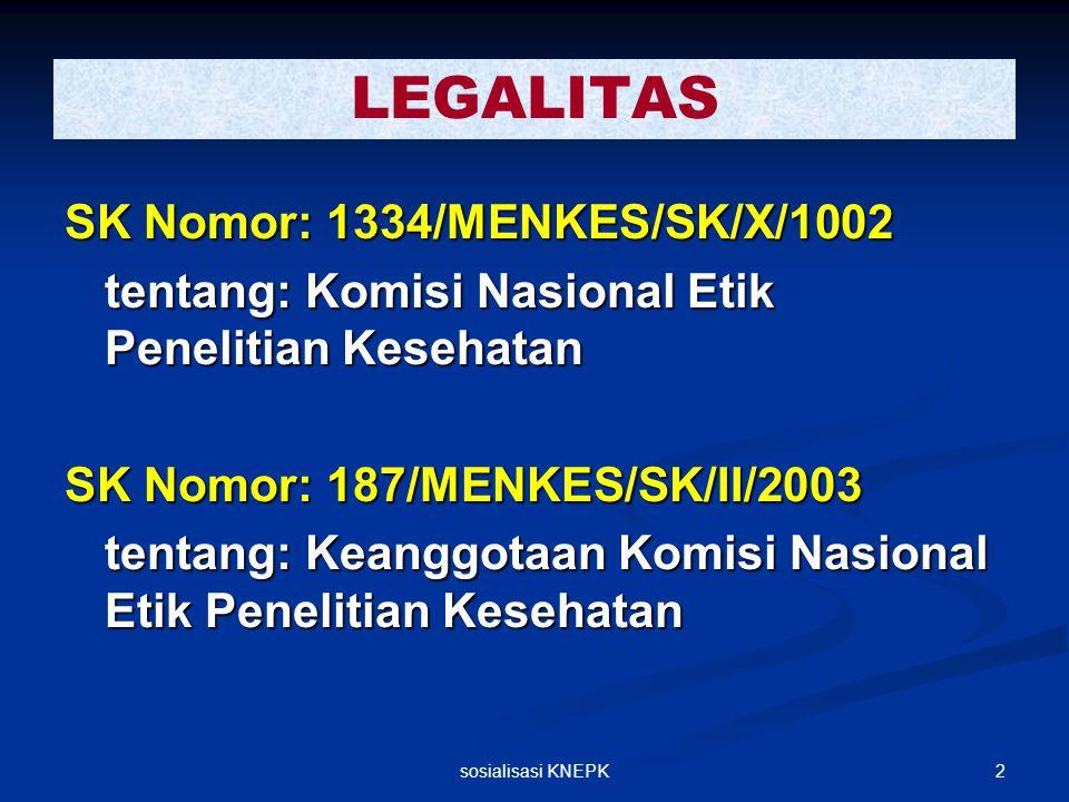 2sosialisasi KNEPK LEGALITAS SK Nomor: 1334/MENKES/SK/X/1002 tentang: Komisi Nasional Etik Penelitian Kesehatan SK Nomor: 187/MENKES/SK/II/2003 tentan