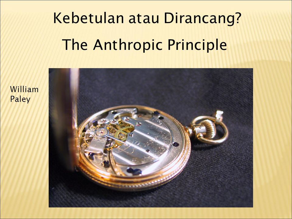 Kebetulan atau Dirancang? The Anthropic Principle William Paley