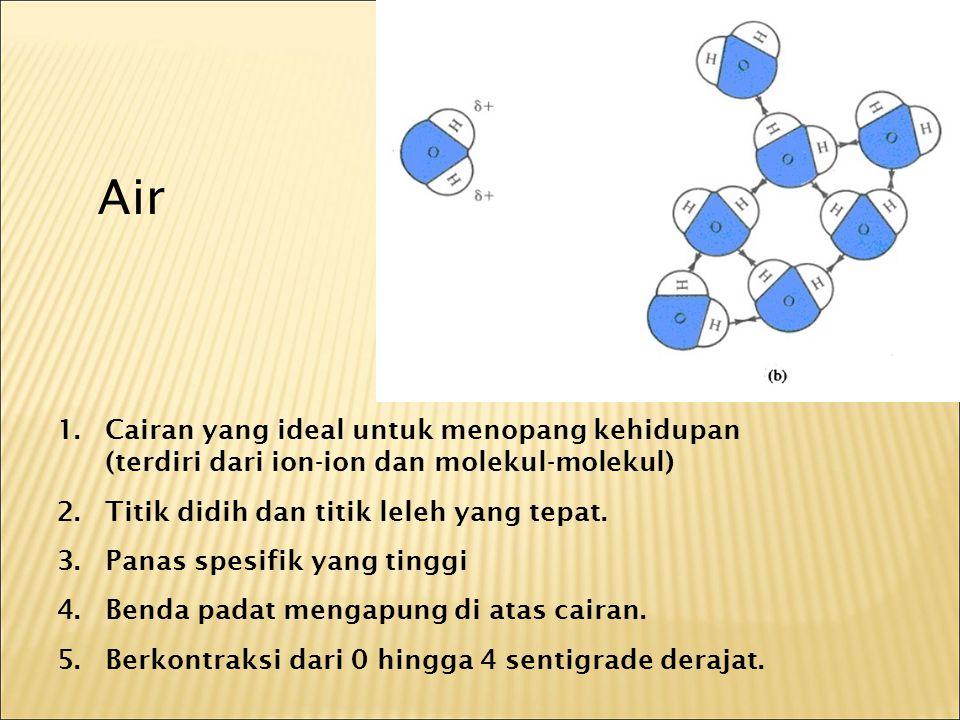 1.Cairan yang ideal untuk menopang kehidupan (terdiri dari ion-ion dan molekul-molekul) 2.Titik didih dan titik leleh yang tepat.