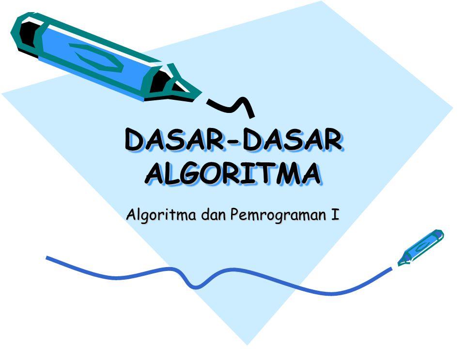 DASAR-DASAR ALGORITMA Algoritma dan Pemrograman I