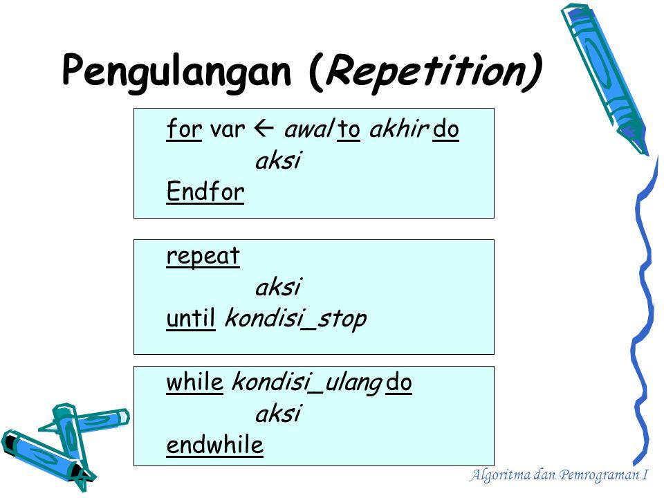 Pengulangan (Repetition) for var  awal to akhir do aksi Endfor repeat aksi until kondisi_stop while kondisi_ulang do aksi endwhile Algoritma dan Pemr