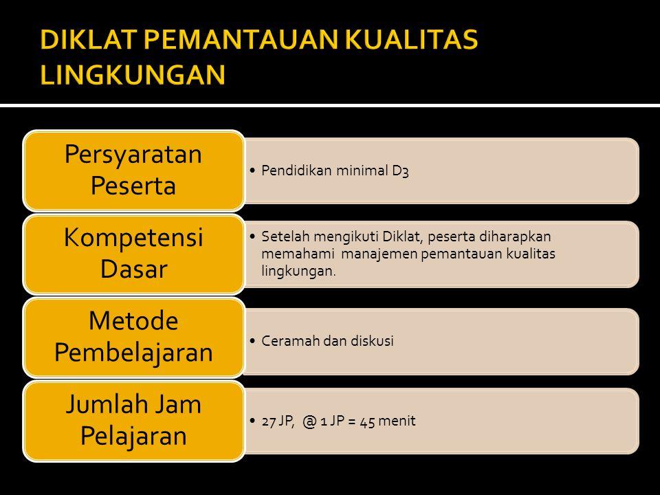 • Diklat Pemantauan Kualitas Lingkungan : NOWaktu PelaksanaanJUMLAH 1.Denpasar, 06 - 09 Juni 201139 peserta yang berasal dari BLH Se PPE Bali dan Nusra 2.Pekanbaru, 13 - 16 September 201140 Peserta yang berasal dari BLH se PPE Sumatera TOTAL79 PESERTA