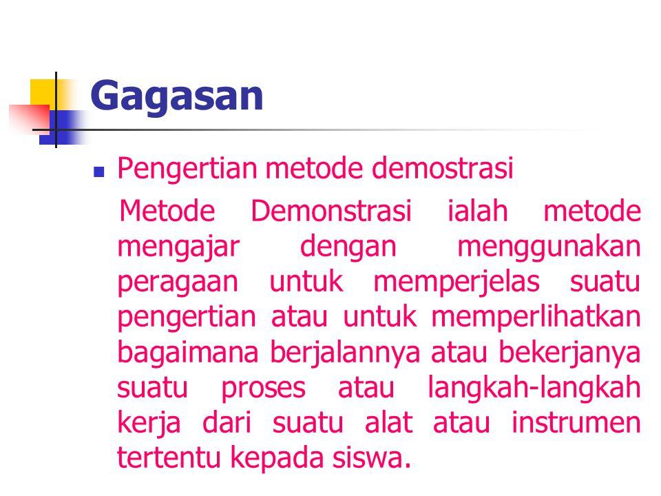Gagasan  Pengertian metode demostrasi Metode Demonstrasi ialah metode mengajar dengan menggunakan peragaan untuk memperjelas suatu pengertian atau un