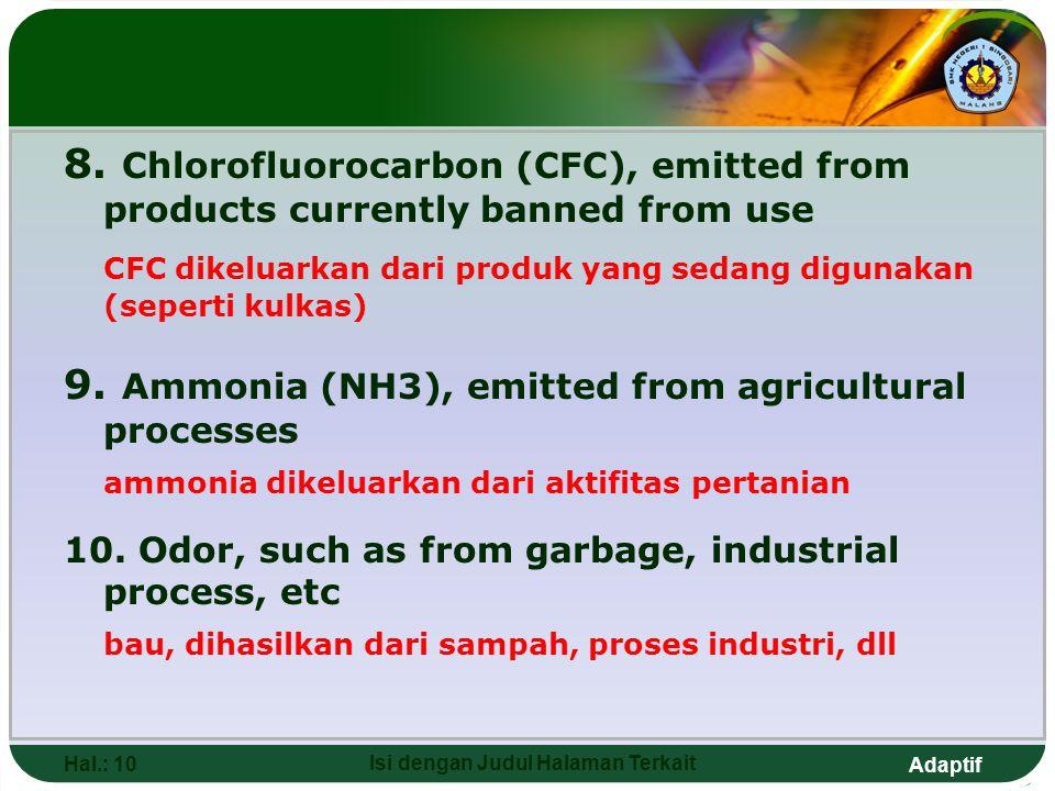 Adaptif Hal.: 10 Isi dengan Judul Halaman Terkait 8. Chlorofluorocarbon (CFC), emitted from products currently banned from use CFC dikeluarkan dari pr