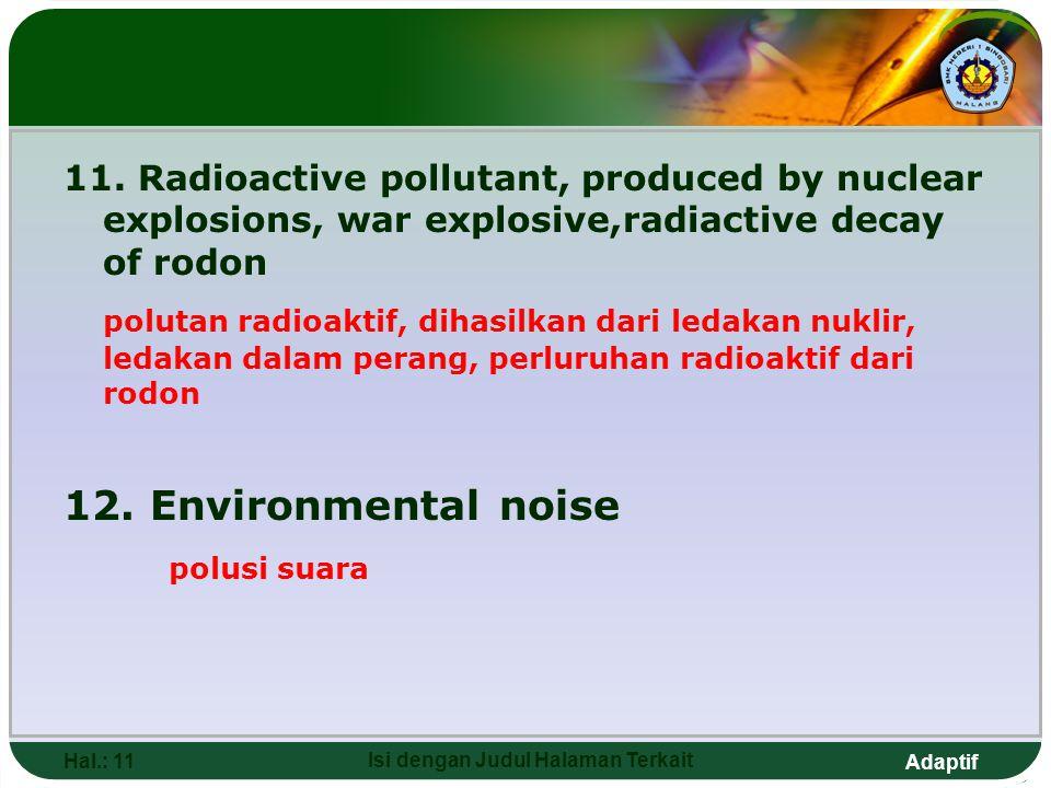 Adaptif Hal.: 11 Isi dengan Judul Halaman Terkait 11. Radioactive pollutant, produced by nuclear explosions, war explosive,radiactive decay of rodon p