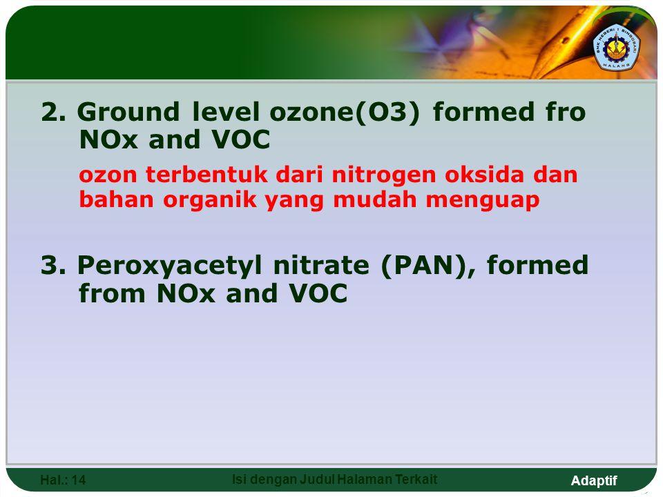 Adaptif 2. Ground level ozone(O3) formed fro NOx and VOC ozon terbentuk dari nitrogen oksida dan bahan organik yang mudah menguap 3. Peroxyacetyl nitr