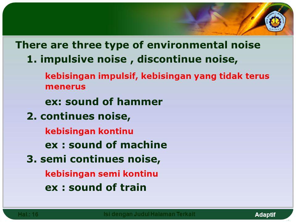 Adaptif There are three type of environmental noise 1. impulsive noise, discontinue noise, kebisingan impulsif, kebisingan yang tidak terus menerus ex
