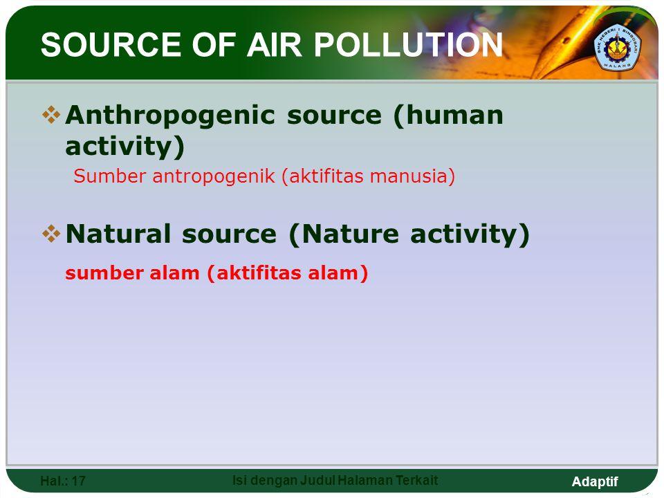 Adaptif SOURCE OF AIR POLLUTION  Anthropogenic source (human activity) Sumber antropogenik (aktifitas manusia)  Natural source (Nature activity) sumber alam (aktifitas alam) Hal.: 17 Isi dengan Judul Halaman Terkait