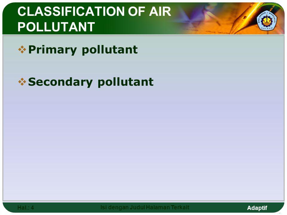 Adaptif Hal.: 4 Isi dengan Judul Halaman Terkait CLASSIFICATION OF AIR POLLUTANT  Primary pollutant  Secondary pollutant