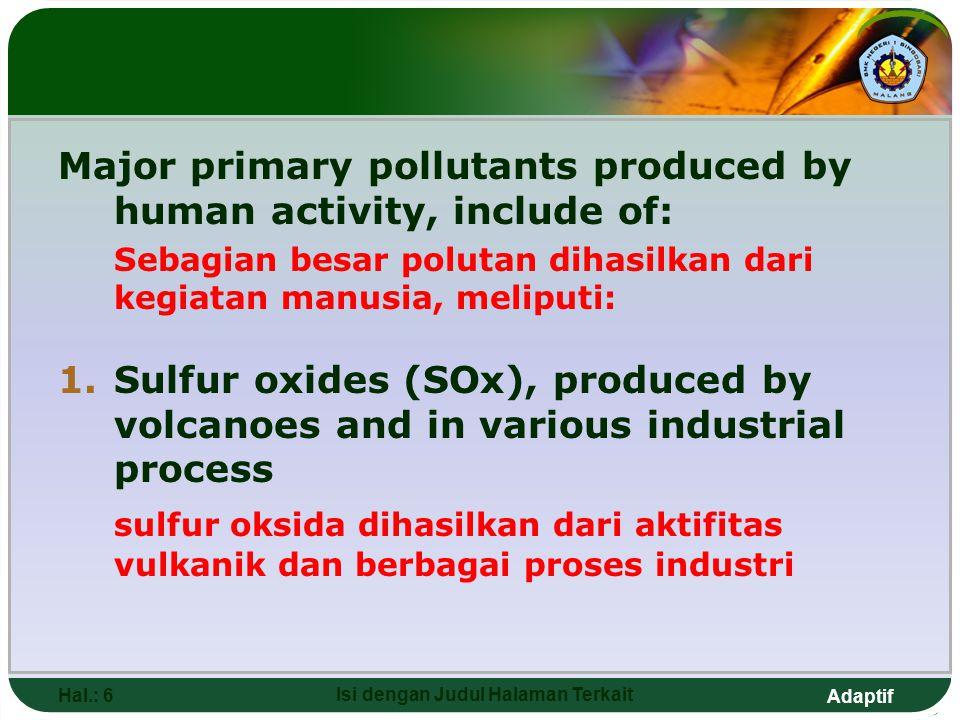 Adaptif Hal.: 6 Isi dengan Judul Halaman Terkait Major primary pollutants produced by human activity, include of: Sebagian besar polutan dihasilkan dari kegiatan manusia, meliputi: 1.Sulfur oxides (SOx), produced by volcanoes and in various industrial process sulfur oksida dihasilkan dari aktifitas vulkanik dan berbagai proses industri