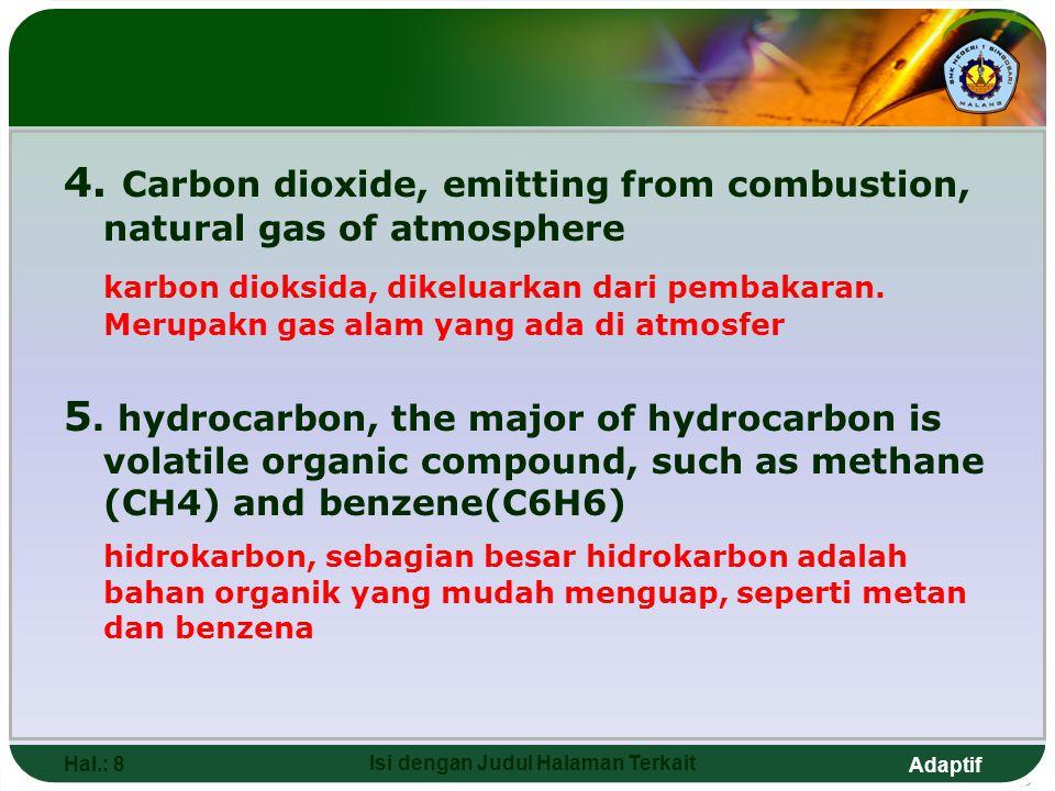 Adaptif Hal.: 8 Isi dengan Judul Halaman Terkait 4. Carbon dioxide, emitting from combustion, natural gas of atmosphere karbon dioksida, dikeluarkan d