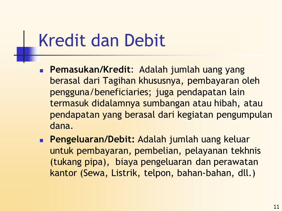 11 Kredit dan Debit  Pemasukan/Kredit: Adalah jumlah uang yang berasal dari Tagihan khususnya, pembayaran oleh pengguna/beneficiaries; juga pendapata