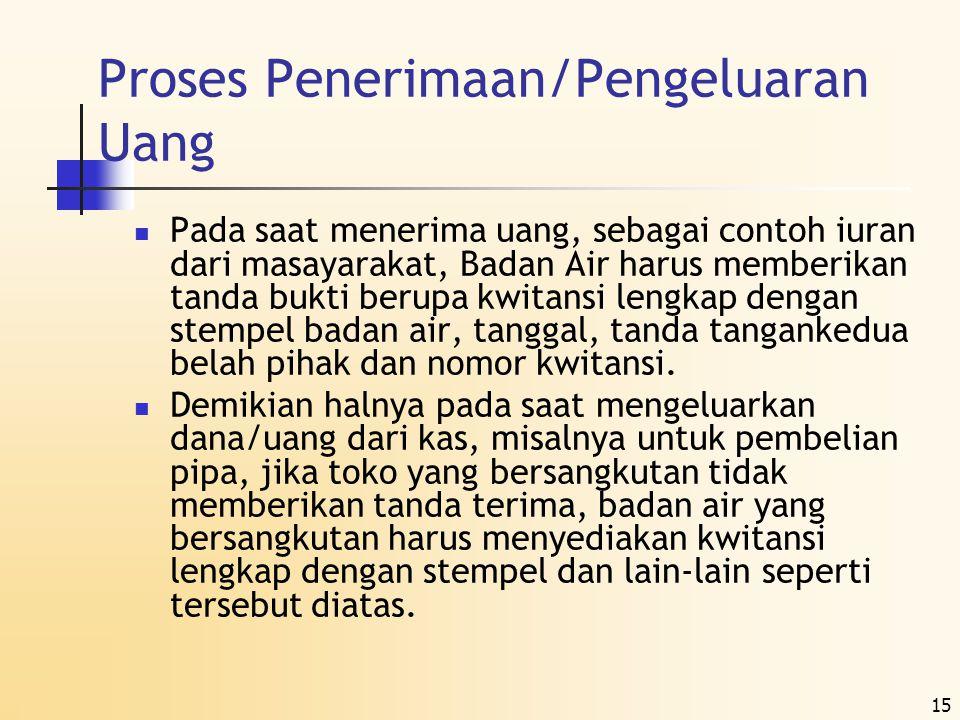 15 Proses Penerimaan/Pengeluaran Uang  Pada saat menerima uang, sebagai contoh iuran dari masayarakat, Badan Air harus memberikan tanda bukti berupa