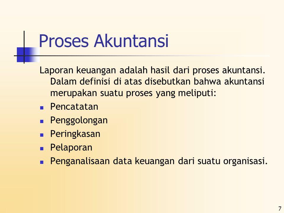 7 Proses Akuntansi Laporan keuangan adalah hasil dari proses akuntansi. Dalam definisi di atas disebutkan bahwa akuntansi merupakan suatu proses yang