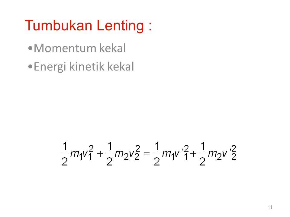 •Momentum kekal •Energi kinetik kekal 11 Tumbukan Lenting :