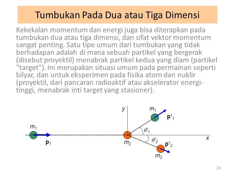 Tumbukan Pada Dua atau Tiga Dimensi Kekekalan momentum dan energi juga bisa diterapkan pada tumbukan dua atau tiga dimensi, dan sifat vektor momentum sangat penting.