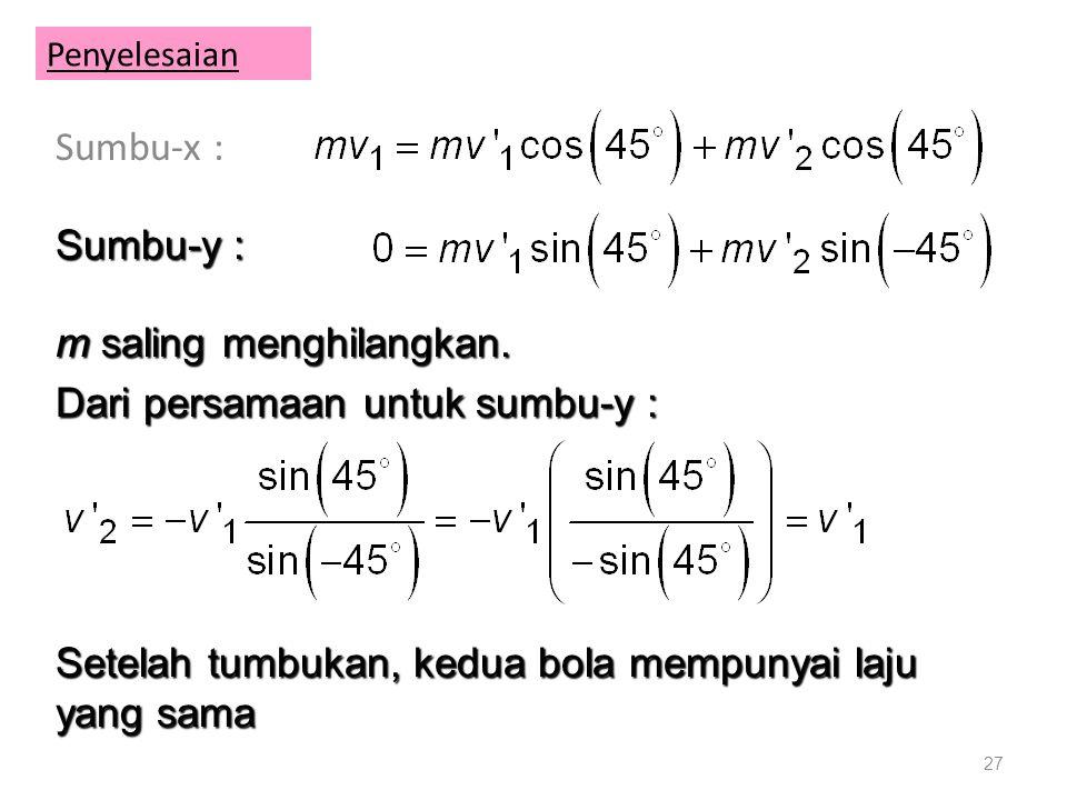 Penyelesaian Sumbu-x : 27 Sumbu-y : m saling menghilangkan.