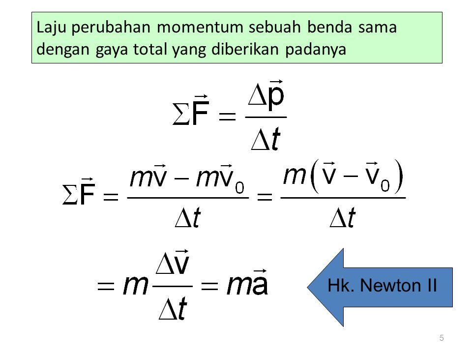 Laju perubahan momentum sebuah benda sama dengan gaya total yang diberikan padanya 5 Hk. Newton II