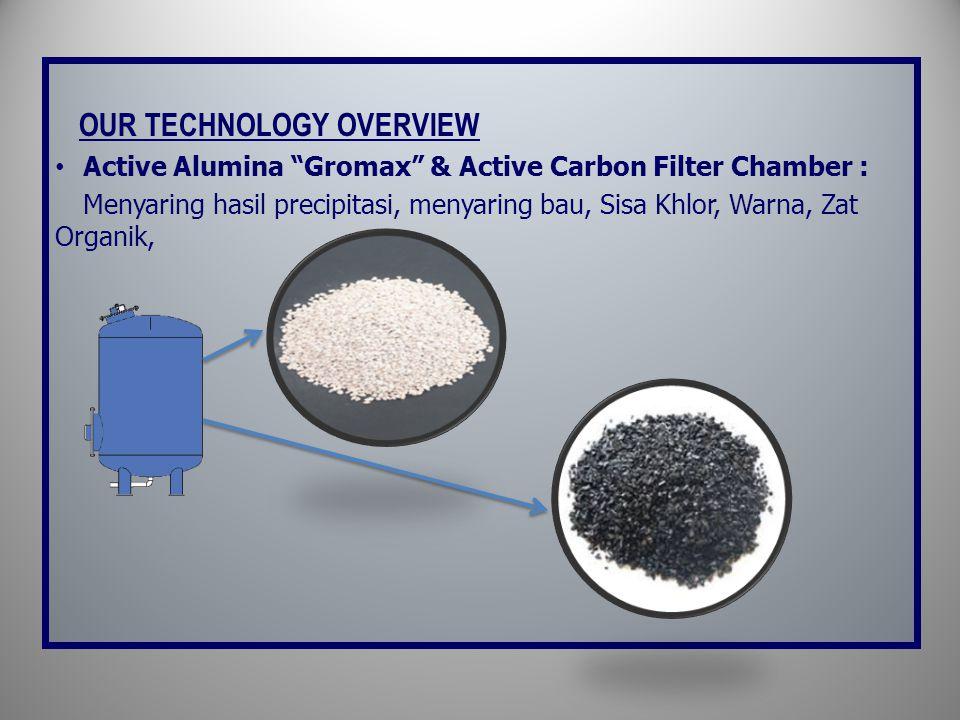 OUR TECHNOLOGY OVERVIEW • Active Alumina Gromax & Active Carbon Filter Chamber : Menyaring hasil precipitasi, menyaring bau, Sisa Khlor, Warna, Zat Organik,