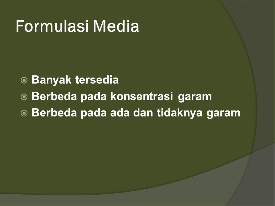 Formulasi Media  Banyak tersedia  Berbeda pada konsentrasi garam  Berbeda pada ada dan tidaknya garam