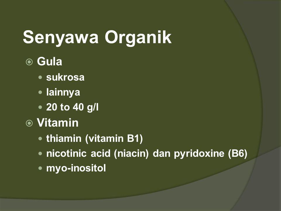 Senyawa Organik  Gula  sukrosa  lainnya  20 to 40 g/l  Vitamin  thiamin (vitamin B1)  nicotinic acid (niacin) dan pyridoxine (B6)  myo-inosito