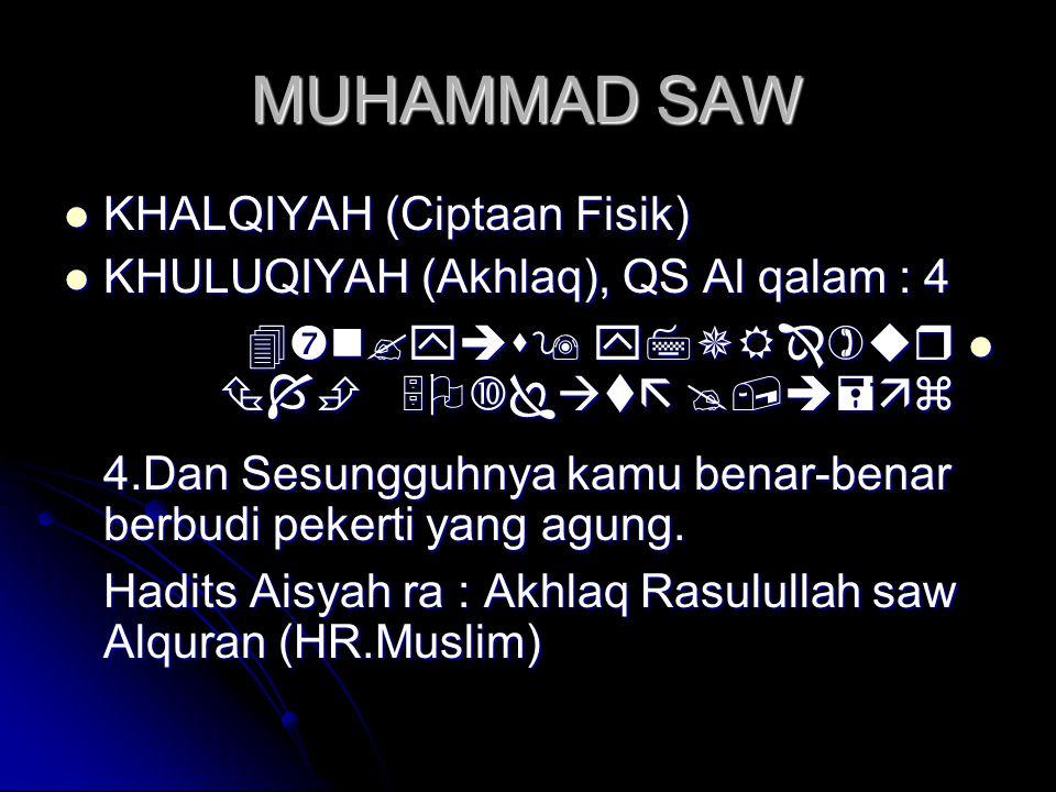 MUHAMMAD SAW  KHALQIYAH (Ciptaan Fisik)  KHULUQIYAH (Akhlaq), QS Al qalam : 4       4.Dan Sesungguhnya kamu benar-b