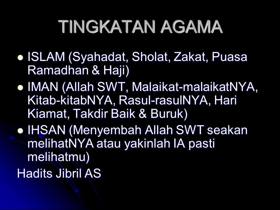 TINGKATAN AGAMA  ISLAM (Syahadat, Sholat, Zakat, Puasa Ramadhan & Haji)  IMAN (Allah SWT, Malaikat-malaikatNYA, Kitab-kitabNYA, Rasul-rasulNYA, Hari