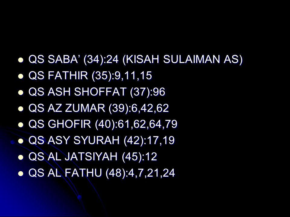  QS SABA' (34):24 (KISAH SULAIMAN AS)  QS FATHIR (35):9,11,15  QS ASH SHOFFAT (37):96  QS AZ ZUMAR (39):6,42,62  QS GHOFIR (40):61,62,64,79  QS