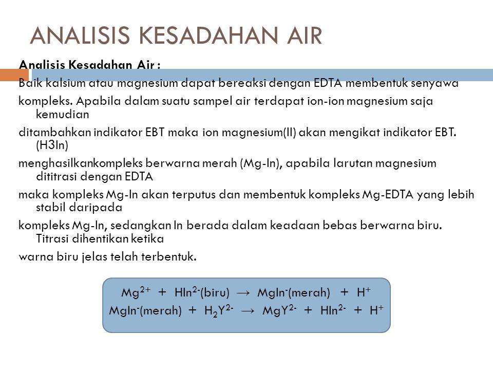 ANALISIS KESADAHAN AIR Analisis Kesadahan Air : Baik kalsium atau magnesium dapat bereaksi dengan EDTA membentuk senyawa kompleks.