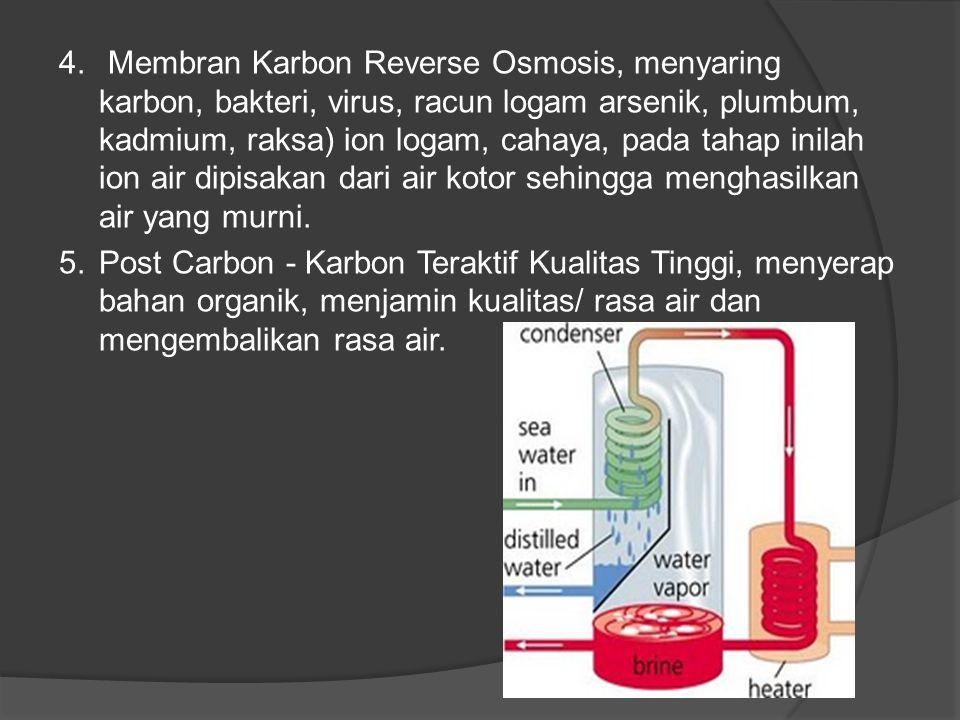 4. Membran Karbon Reverse Osmosis, menyaring karbon, bakteri, virus, racun logam arsenik, plumbum, kadmium, raksa) ion logam, cahaya, pada tahap inila