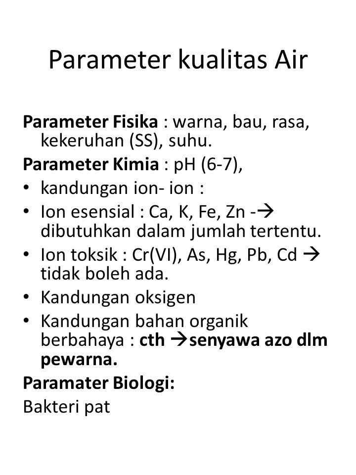 Parameter kualitas Air Parameter Fisika : warna, bau, rasa, kekeruhan (SS), suhu. Parameter Kimia : pH (6-7), • kandungan ion- ion : • Ion esensial :