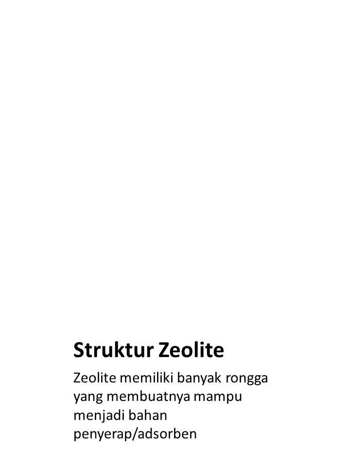 Struktur Zeolite Zeolite memiliki banyak rongga yang membuatnya mampu menjadi bahan penyerap/adsorben