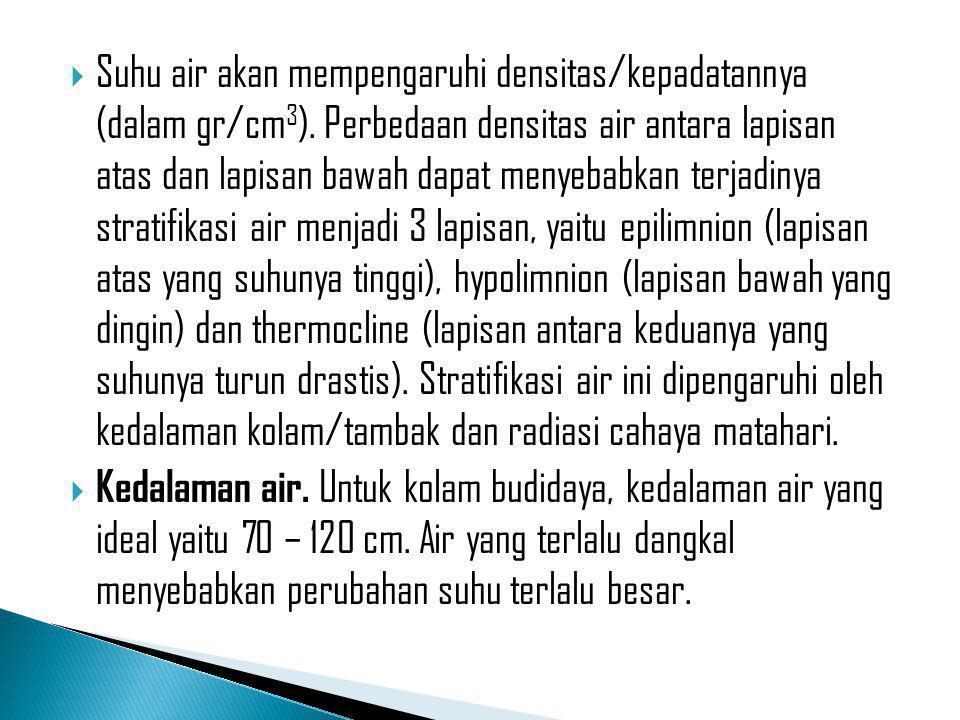  Suhu air akan mempengaruhi densitas/kepadatannya (dalam gr/cm 3 ). Perbedaan densitas air antara lapisan atas dan lapisan bawah dapat menyebabkan te