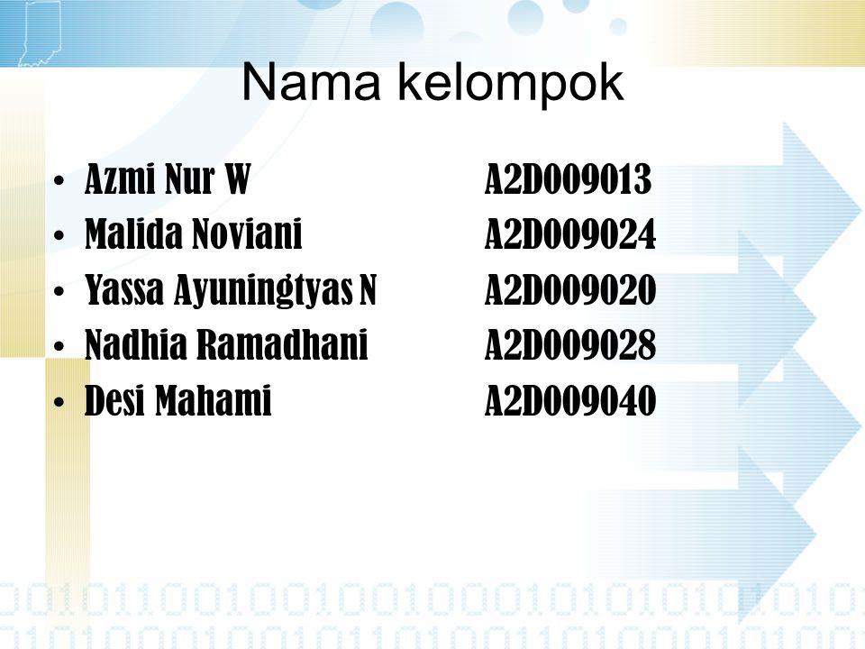 Nama kelompok • Azmi Nur WA2D009013 • Malida NovianiA2D009024 • Yassa Ayuningtyas NA2D009020 • Nadhia RamadhaniA2D009028 • Desi MahamiA2D009040
